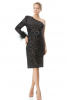 Powder plus size sequined single sleeve mini dress