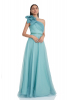 Mint green tulle single sleeve maxi dress