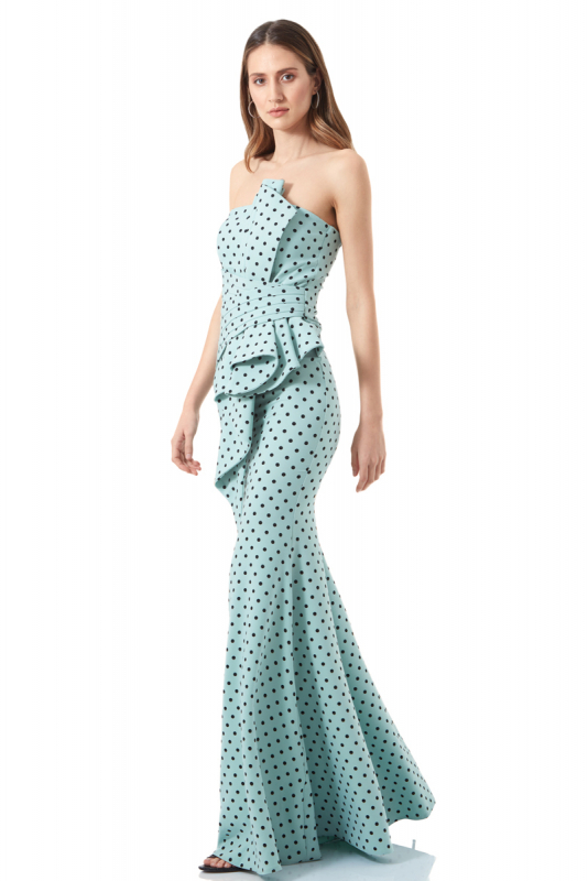 crepe strapless maxi dress