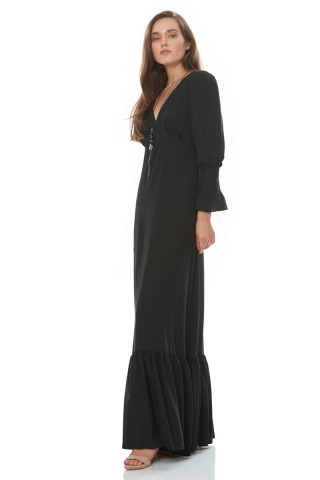 Black woven long sleeve maxi dress