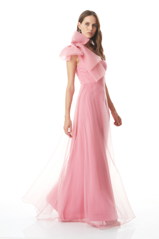 New powder pink tulle sleeveless maxi dress