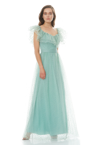 Mint green tulle short sleeve maxi dress