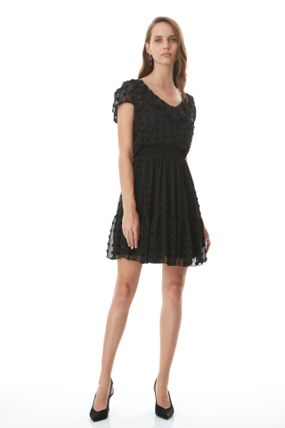 Black chiffon short sleeve mini dress