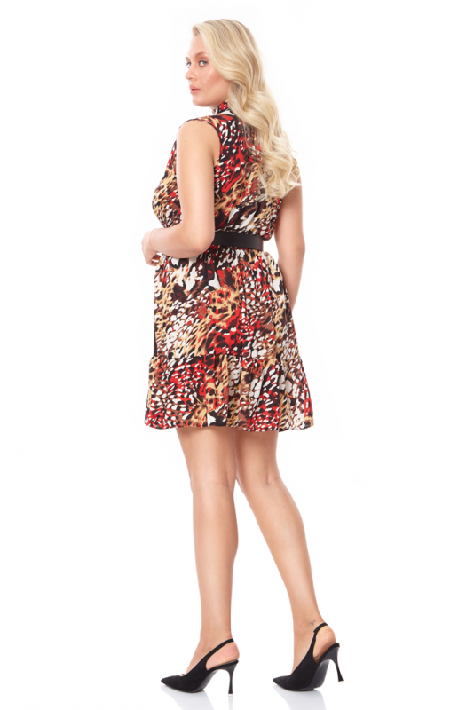 Print f73 plus size crepe sleeveless mini dress