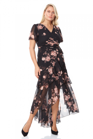 Print d65 plus size chiffon short sleeve maxi dress