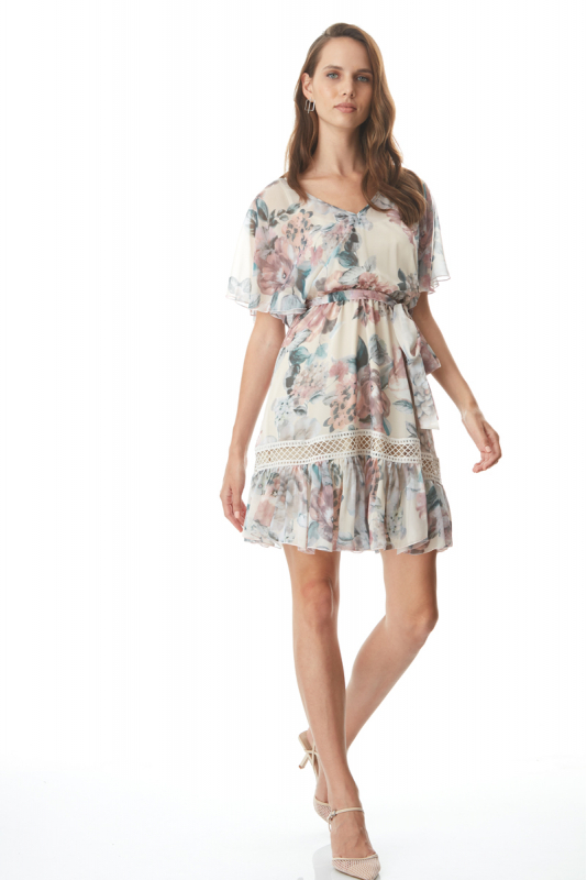 Mixed chiffon short sleeve mini dress