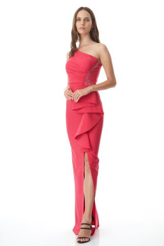 Fuchsia crepe sleeveless maxi dress