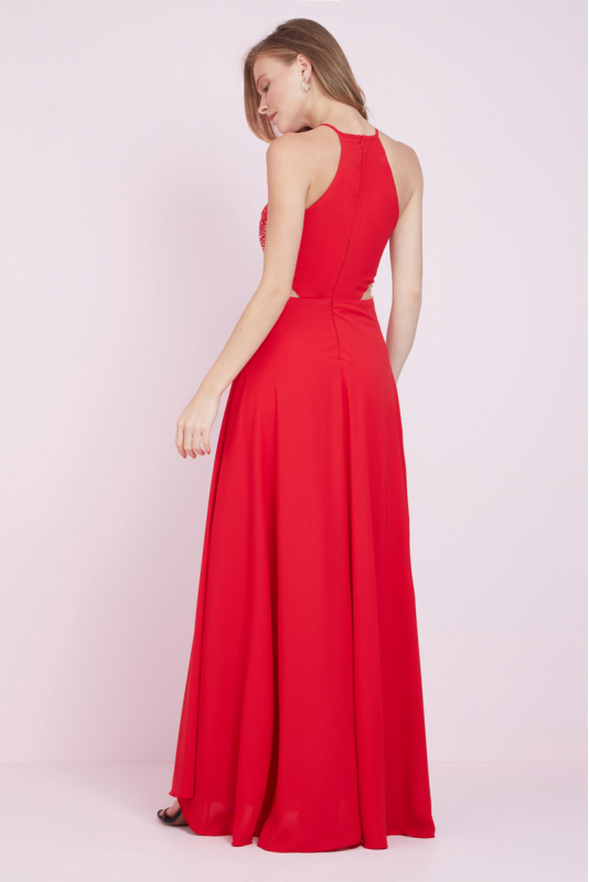 Red maxi trousers