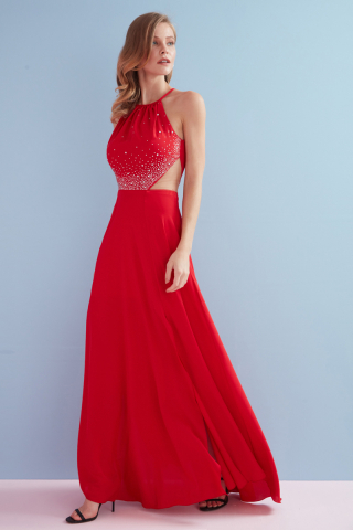 Red crepe sleeveless maxi trousers