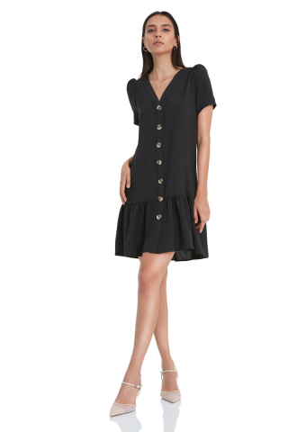 Black crepe short sleeve mini dress