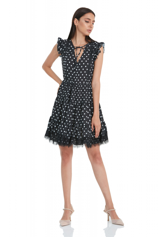 Print y77 crepe short sleeve mini dress