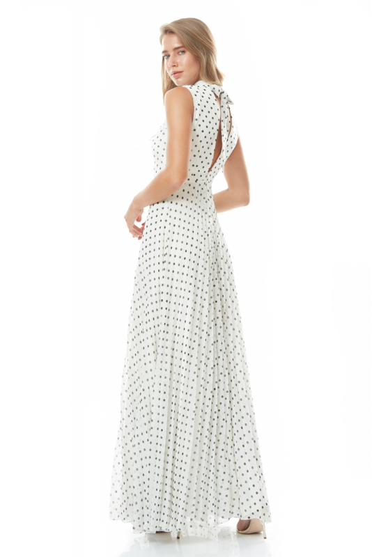 Print y77 chiffon sleeveless maxi dress