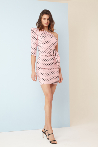 Print y83 crepe single sleeve mini dress