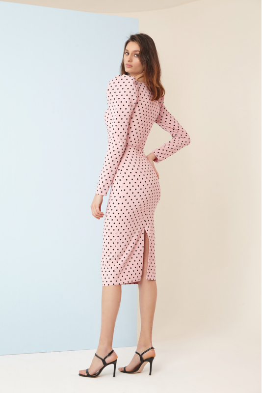 Print y83 crepe long sleeve midi dress