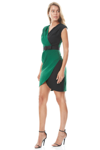 Green crepe sleeveless mini dress