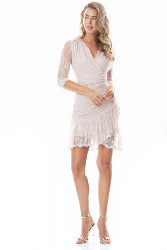 Powder lace long sleeve mini dress