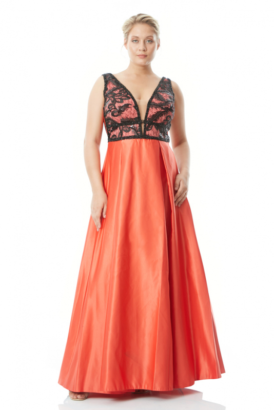 Orange plus size satin sleeveless maxi dress