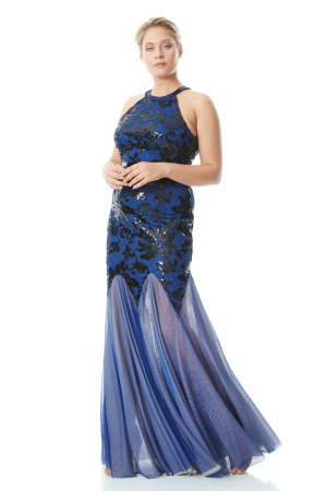 Sax plus size sequined single sleeve maxi dress
