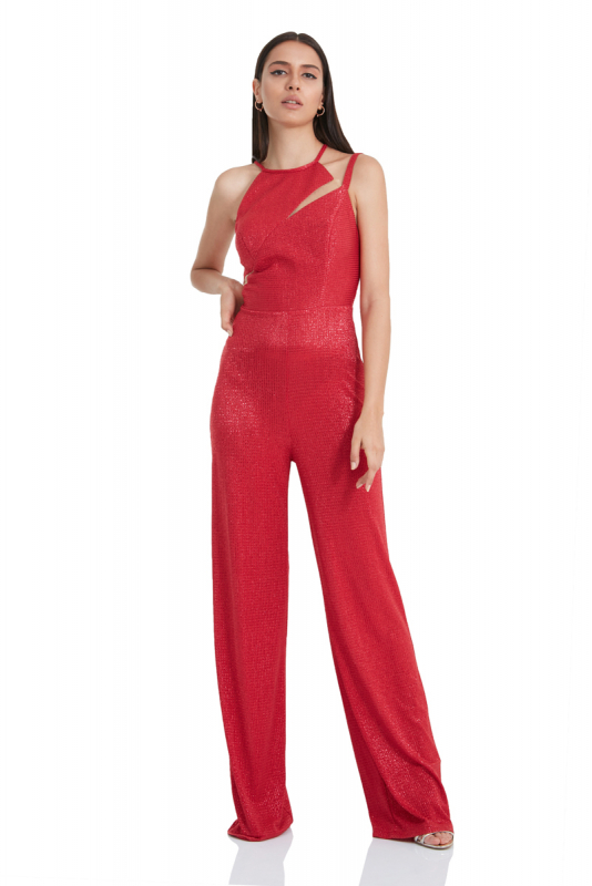 Red knitted sleeveless mini overall