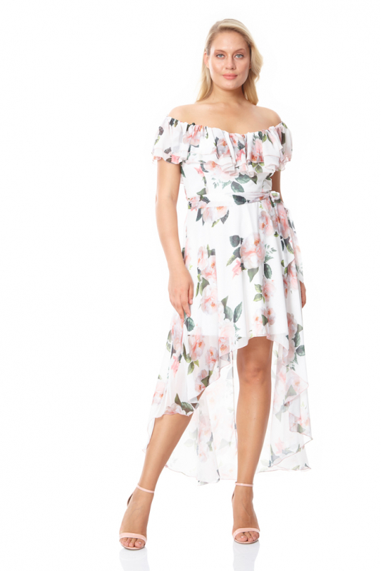 Print c07 plus size chiffon sleeveless maxi dress