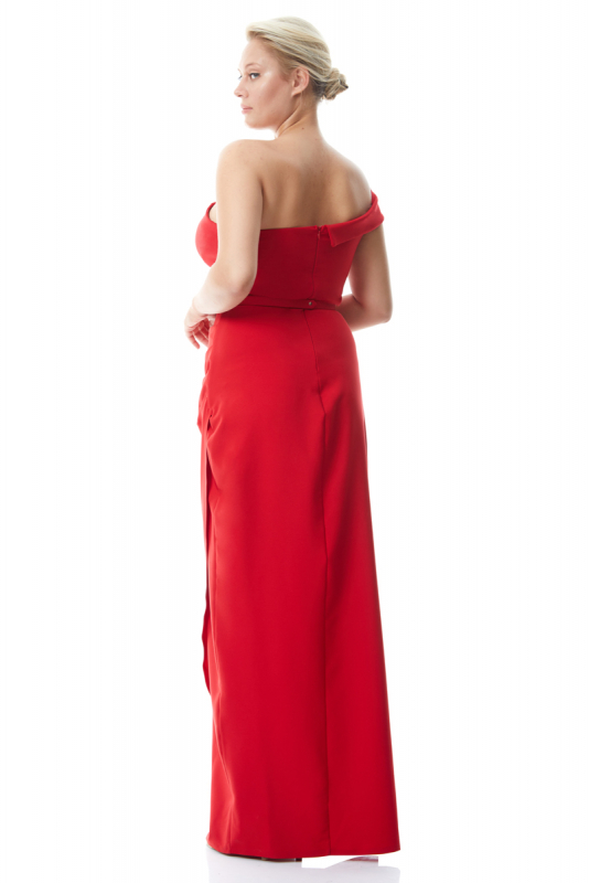Red plus size crepe short sleeve maxi dress