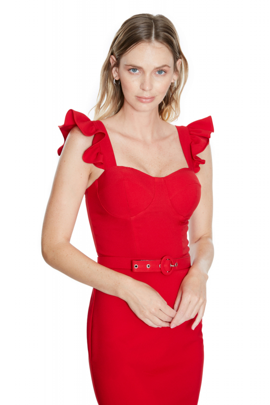 Red crepe strapless mini dress