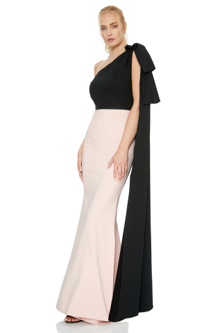 Light pink crepe single sleeve maxi dress