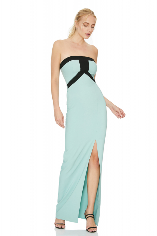 Mint green crepe sleeveless maxi dress