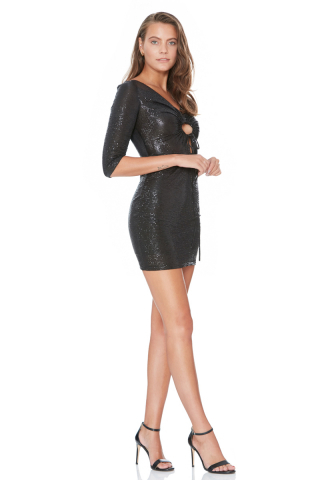 Black knitted 3/4 sleeve mini dress