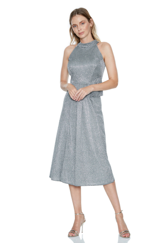 Grey velvet 13 sleeveless midi dress
