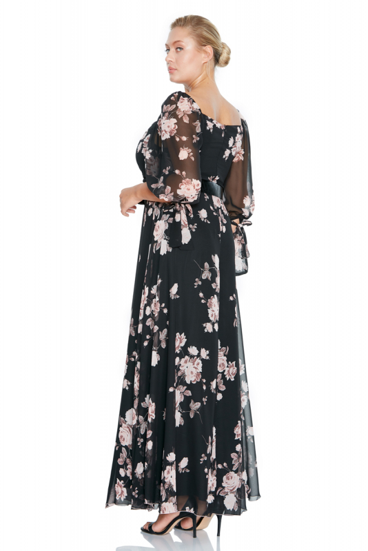 Print d65 plus size chiffon long sleeve maxi dress