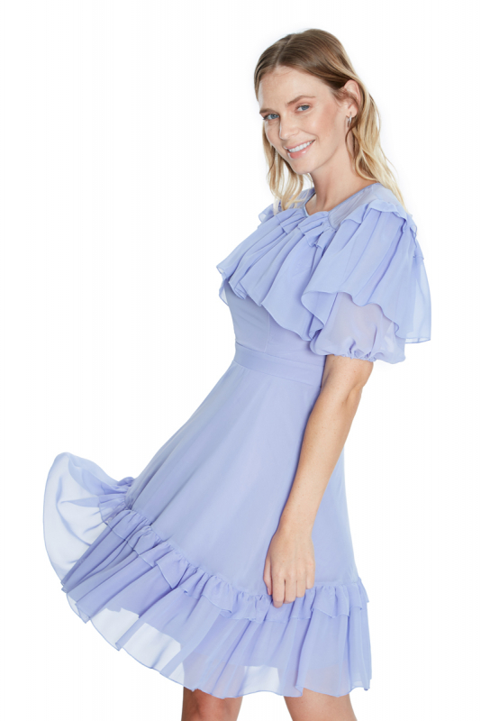 Lilac chiffon short sleeve midi dress