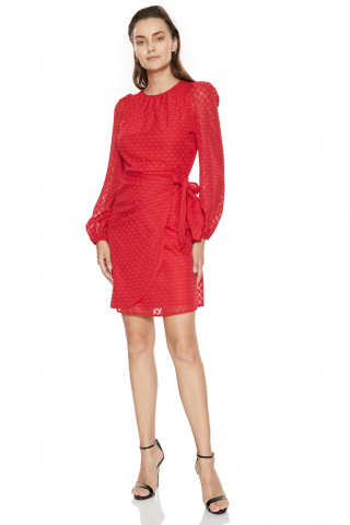 Red chiffon long sleeve mini dress