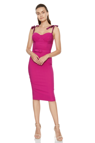 Fuchsia crepe strapless mini dress