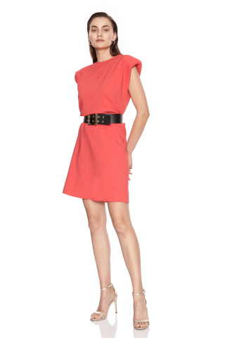 Coral crepe sleeveless mini dress
