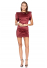 Claret red satin sleeveless mini dress