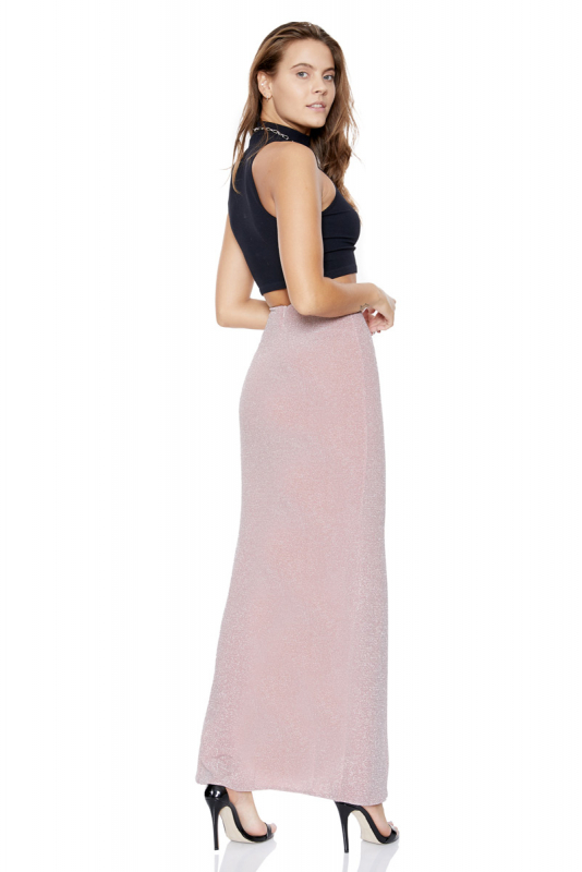 Powder knitted maxi skirt
