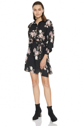 Print d65 crepe long sleeve mini dress