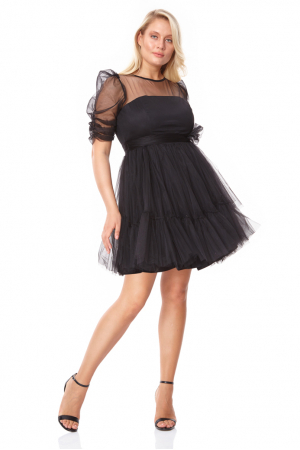 Black plus size tulle long sleeve mini dress