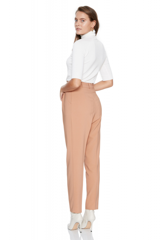 Camel knitted maxi trousers