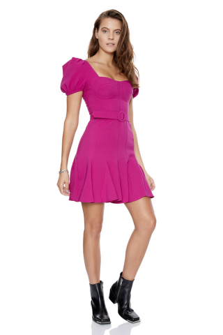 Fuchsia crepe short sleeve midi dress