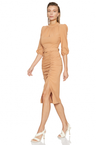 Camel crepe 3/4 sleeve midi dress