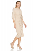 Beige crepe 3/4 sleeve midi dress