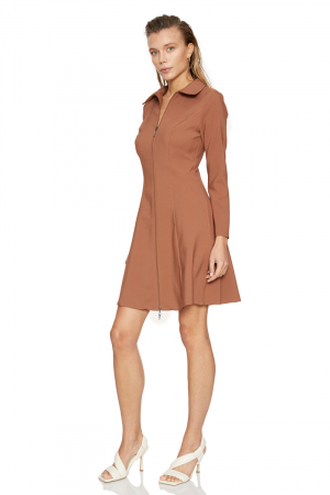 Brown crepe long sleeve mini dress