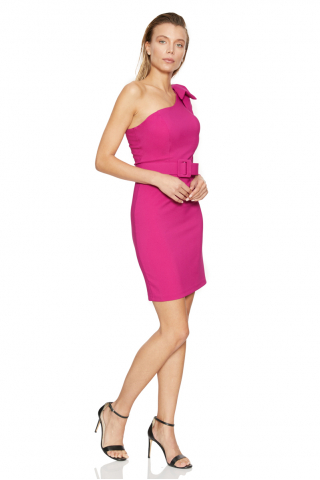Fuchsia crepe sleeveless mini dress