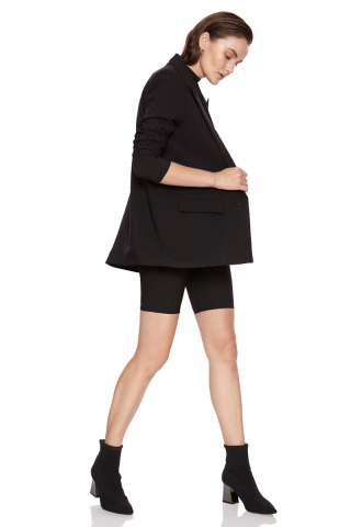 Black crepe long sleeve jacket