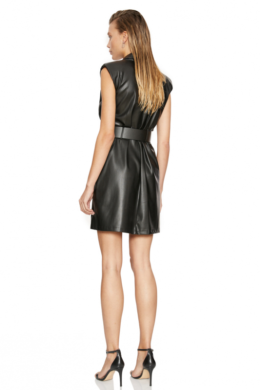 Black leather sleeveless mini dress