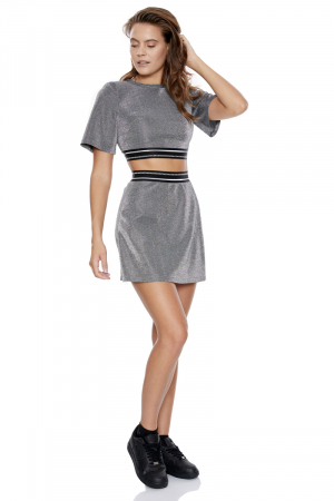 Silver crepe short sleeve