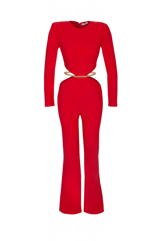 Red knitted long sleeve maxi overall