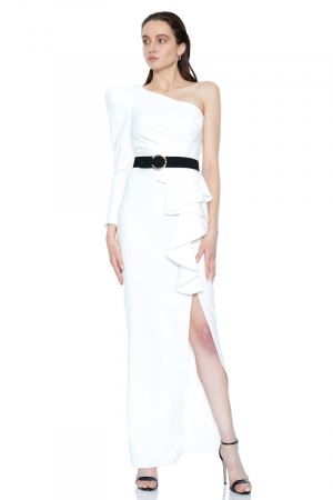 White crepe single sleeve maxi dress